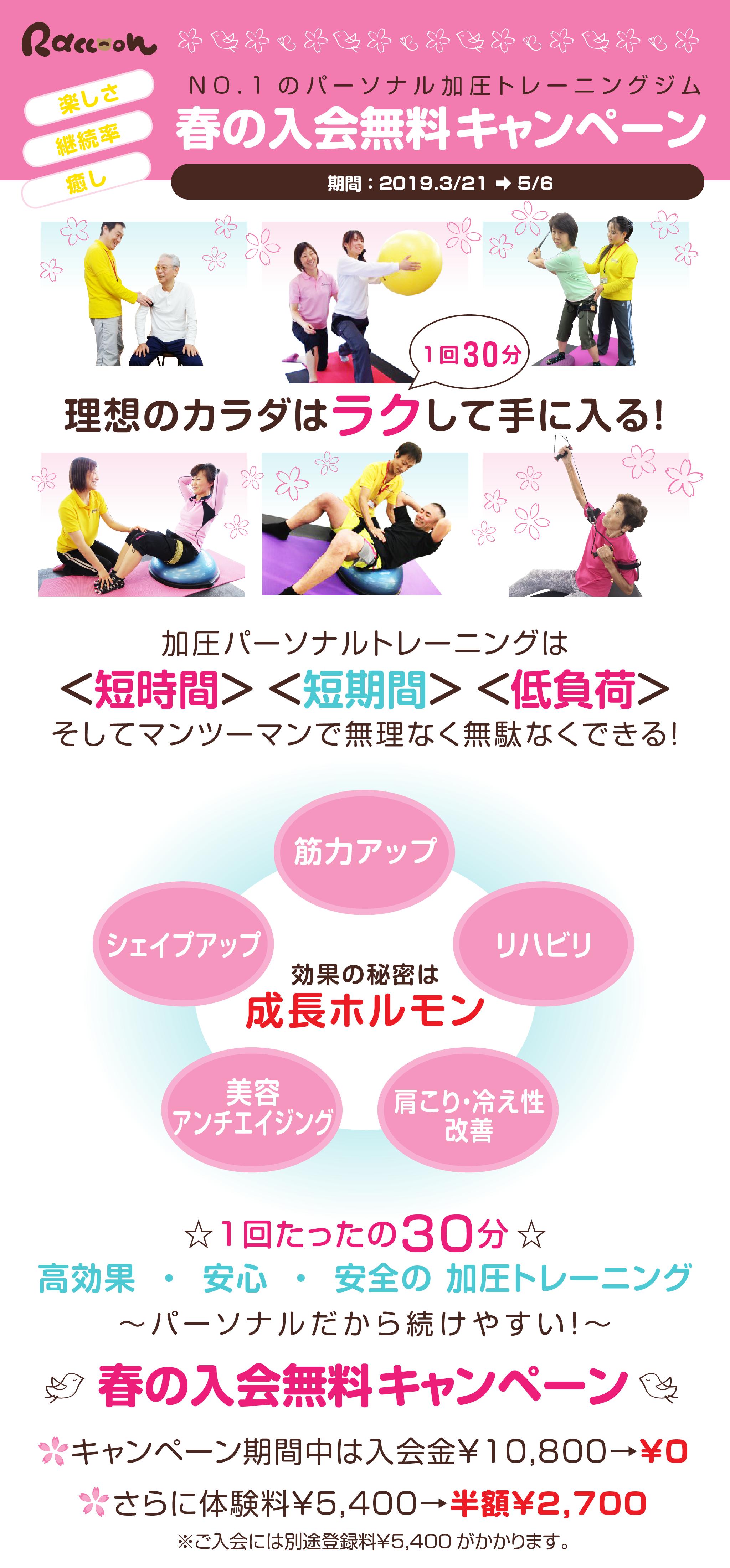 春の入会無料キャンペーン キャンペーン期間中は入会金¥10,800→¥0 さらに体験料¥5,400→半額¥2,700